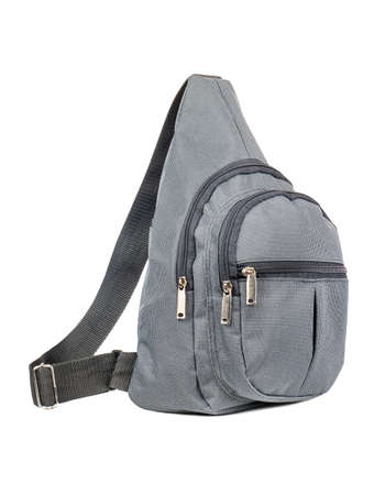 Small grey backpack isolated on white background Stockfoto