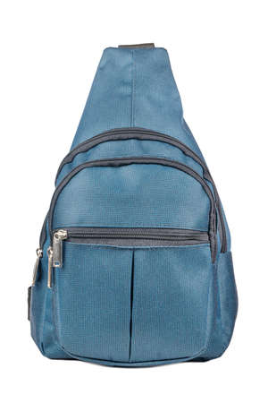 Small blue backpack isolated on white background
