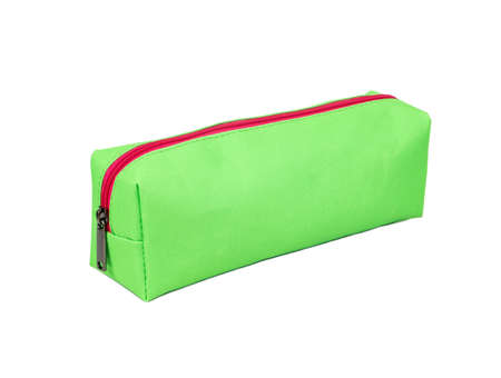 Green long womens cosmetic bag isolated on white background Stock Photo