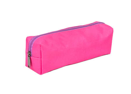 Pink long womens cosmetic bag isolated on white background