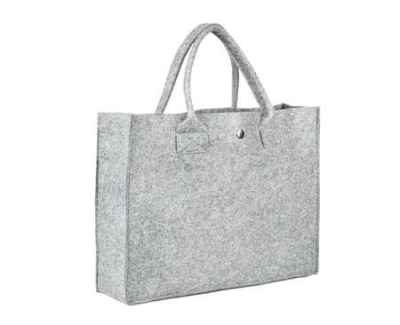 Environmental bag made of felt-isolated on white background Фото со стока