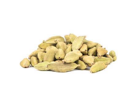 Pile of dry cardamom on a white background 版權商用圖片