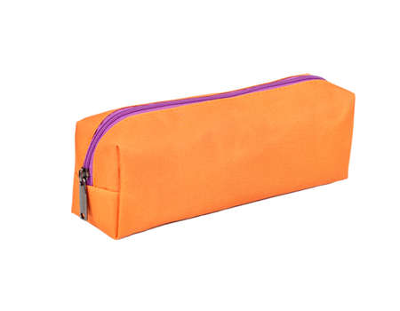 Orange long cosmetic bag isolated on white background