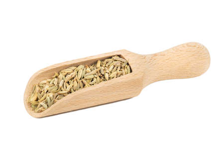Dry fennel in wooden scoop isolated on white background