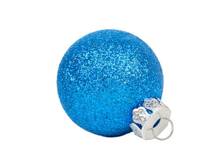 Beautiful blue Christmas ball isolated on white background