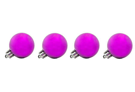 Four purple Christmas ball isolated on white background Banco de Imagens
