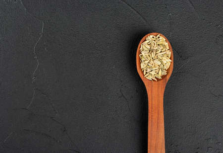 Dry fennel in a spoon on an empty dark concrete background