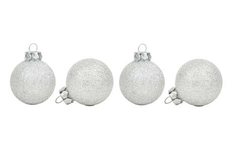 Four silver Christmas ball on white background