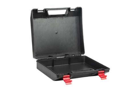 Open empty black plastic tool box isolated on white background