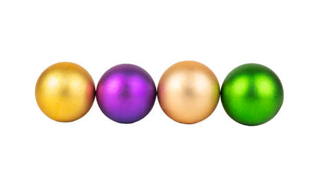 Four colored Christmas balls isolated on white background 写真素材