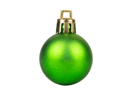 Beautiful green Christmas ball isolated on white background
