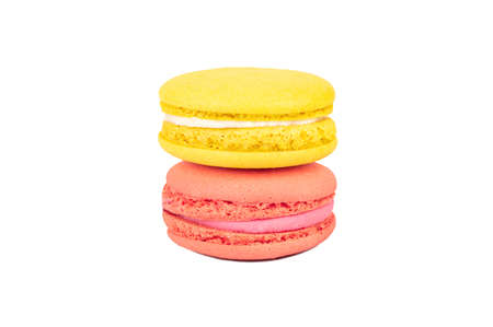 Lemon and raspberry macaroons isolated on white background 写真素材