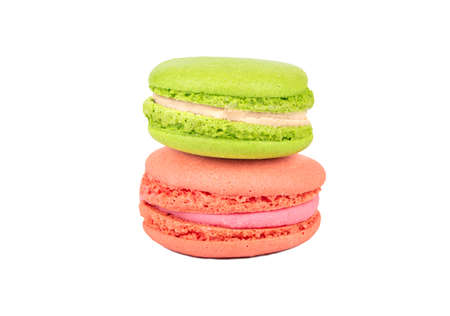 Raspberry and pistachio macaroons isolated on white background 写真素材
