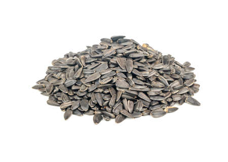 Bunch of sunflower seeds in a shell on a white background