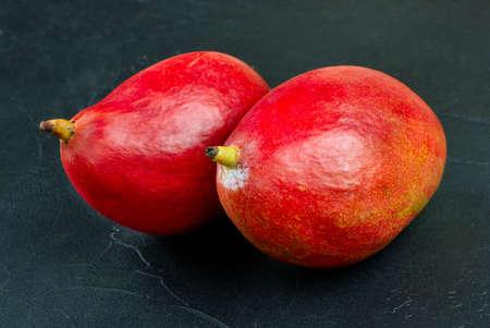 Two red delicious mango fruits on a concrete background Фото со стока