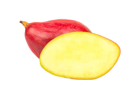 Mango with juicy half isolated on white background