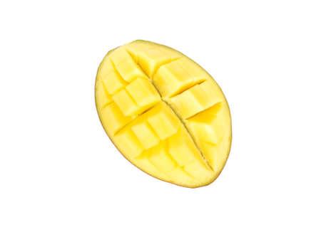 Sliced half of mango fruit isolated on a white background