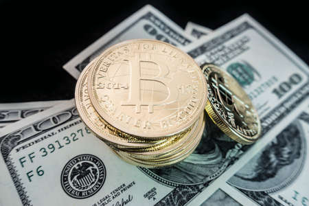 coins of bitcoin on dollar notes Banco de Imagens