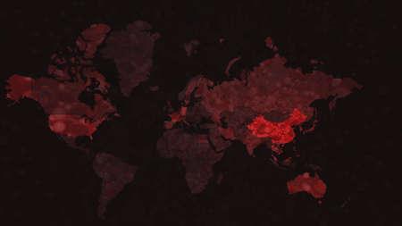 World Map of Infect Coronavirus COVID-19. 3d render of coronavirus particles in human blood