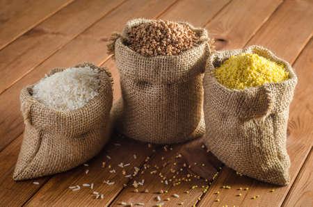 Buckwheat, rice, millet in bags