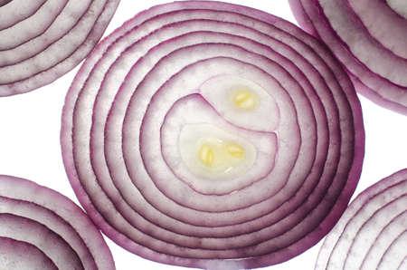 empedrado: Cebolla roja en una macro de corte.