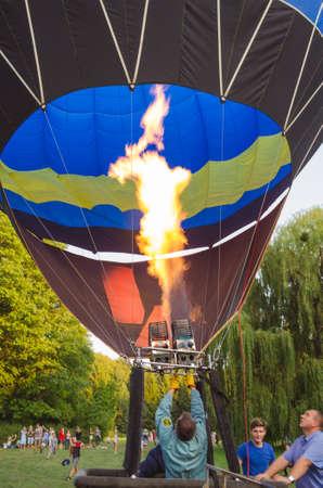 gas burner: 26 august 2017 Ukraine, White Church. Balloon jam. Preparation for the start of the hot air balloon