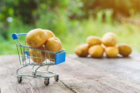 A small shopping trolley with potatoes on an old wooden table.