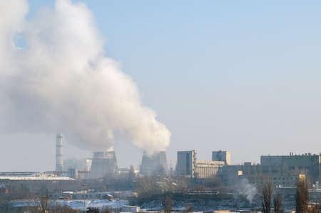 Thermal power plant with chimneys, industrial landscape. Standard-Bild - 116374215