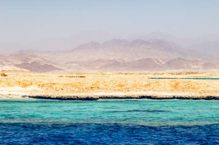 Mountain landscape with blue water in the national park Ras Mohammed, Egypt Archivio Fotografico