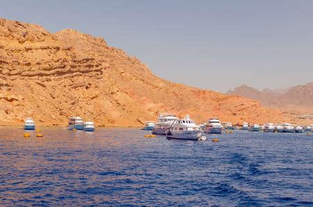 Tourist pleasure boats in the harbor of Sharm El Sheikh Stok Fotoğraf