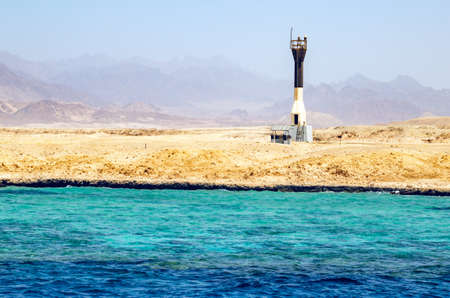 View from the sea at the lighthouse port of Sharm el Sheikh. Egypt Archivio Fotografico