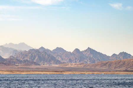 Mountain landscape with blue water in the national park Ras Mohammed, Egypt Stok Fotoğraf