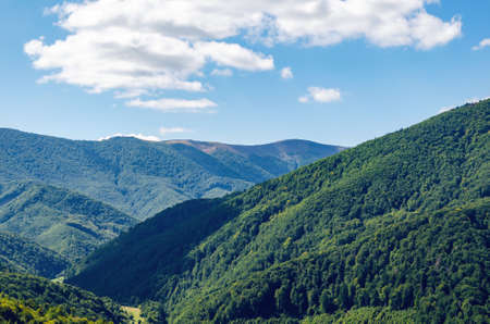 Carpathian landscape with forest slopes, mountain ranges and peaks. Holidays in the mountains.