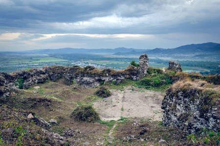 The ruins of the old castle in Khust, Transcarpathia Ukraine.