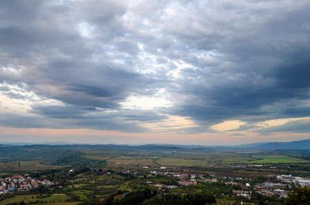 Top view on the evening city of Khust, Transcarpathia Ukraine.