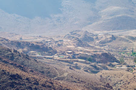 Top view of a village in the mountains of Egypt on the Sinai Peninsula.