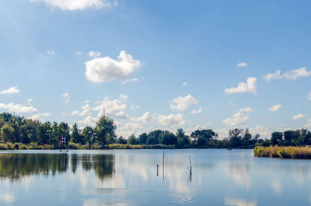Beautiful summer landscape with a river and blue sky Stok Fotoğraf