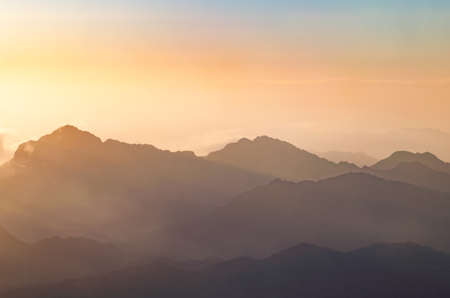 View from the mountain of Moses, a beautiful sunrise in the mountains of Egypt. Stok Fotoğraf