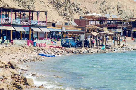 Dahab, Egypt May 11, 2019: A small tourist village located on the banks of the blue hole in Dahab. Reklamní fotografie