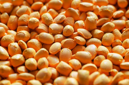 Orange polymer dye in granules, background texture.