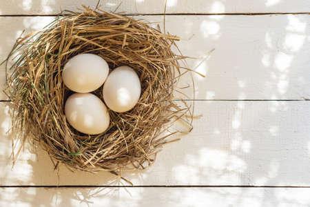 Three white chicken eggs in a nest.