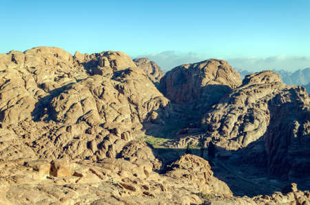 Mountain landscape at sunrise, view from Mount Moses, Sinai Peninsula, Egypt. Zdjęcie Seryjne