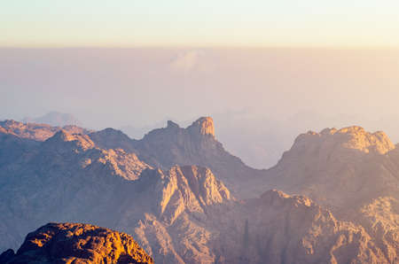 View from the mountain of Moses, a beautiful sunrise in the mountains of Egypt. Zdjęcie Seryjne