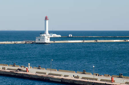 Vorontsov lighthouse in the port of Odessa on the Black Sea.