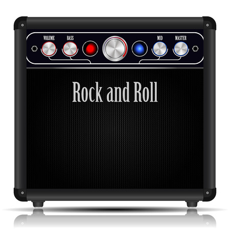 equalization: Modern guitar amplifier with a striking design in the style of rock and roll Illustration