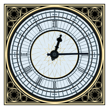 dial plate: Famous Big Ben clock tower in vector format image on white background