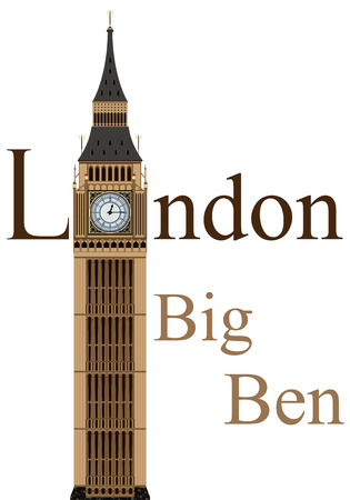 Big Ben tower illustration, isolated on white background, vector Vectores