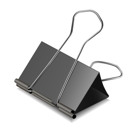 clerical: Black clerical clip for paper isolated on a white background