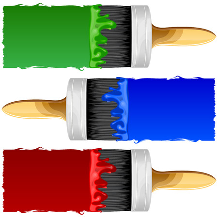 Brush with red, blue and green paint on a white background isolated