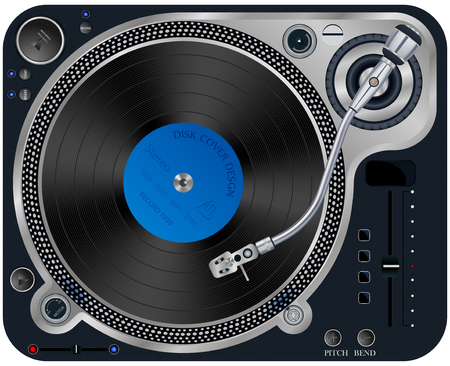rpm: Vector illustration of modern turntable with a plate on a white background